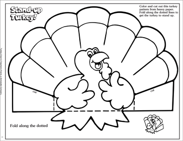 Stand Up Turkey Decoration - Printable Worksheet