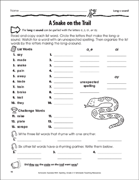 A Snake on the Trail - Long-a Sound - Printable Worksheet