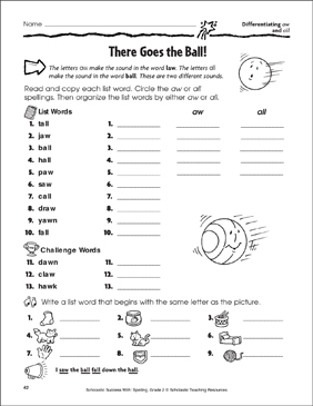 There Goes the Ball! - Differentiating aw and all - Printable Worksheet