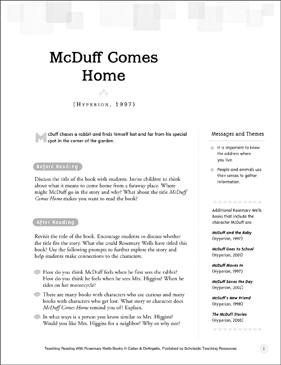 McDuff Comes Home: Teaching Reading With Rosemary Wells Books - Printable Worksheet