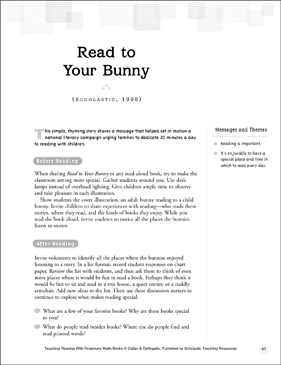Read to Your Bunny: Teaching Reading With Rosemary Wells Books - Printable Worksheet