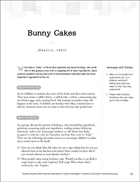 Bunny Cakes: Teaching Reading With Rosemary Wells Books - Printable Worksheet