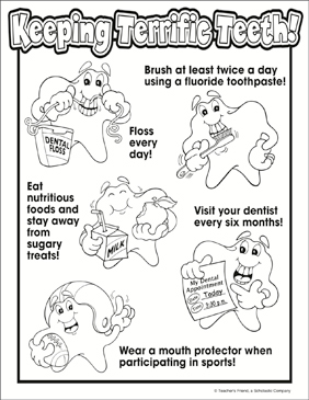 Keeping Terrific Teeth Coloring Page - Printable Worksheet