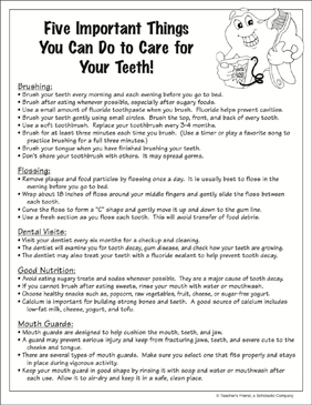 Five Important Things You Can Do to Care for Your Teeth! - Printable Worksheet
