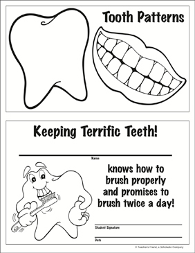 Tooth Patterns and Dental Hygiene Certificate - Printable Worksheet