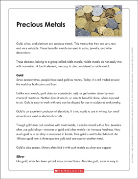 Precious Metals: Text & Organizer - Printable Worksheet