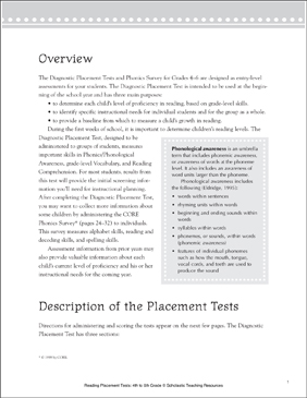 Reading Placement Test: Grade 6 | Printable Forms, Record Sheets and