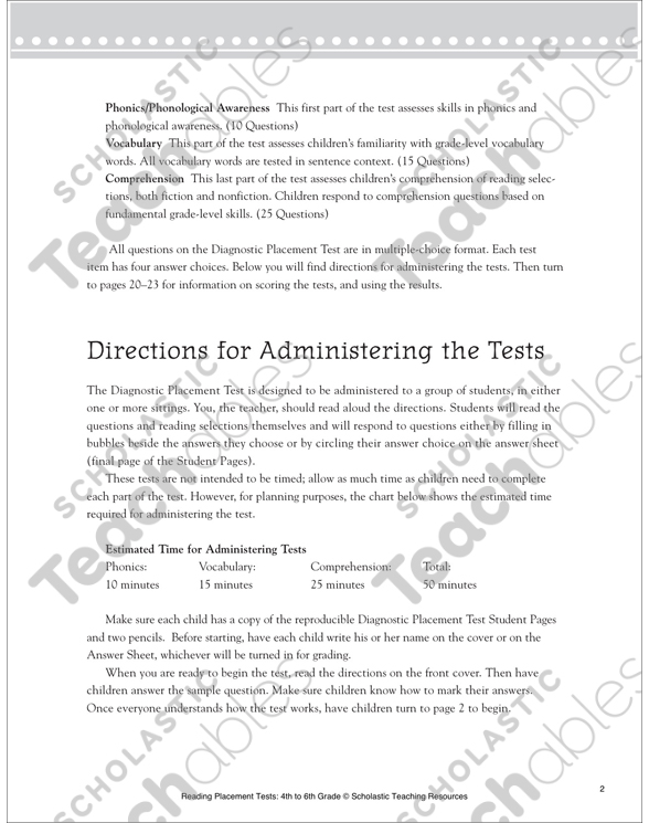 Reading Placement Test: Grade 6   Printable Forms, Record