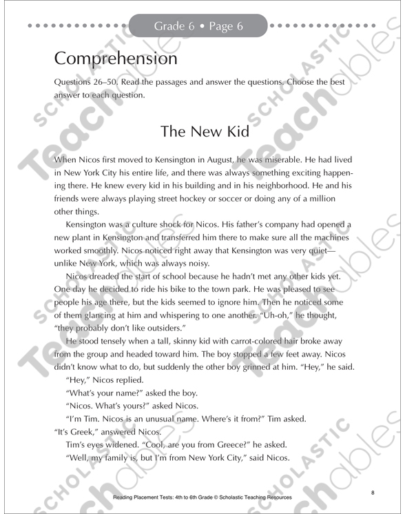 Reading Placement Test Grade 6 Printable Forms Record Sheets And