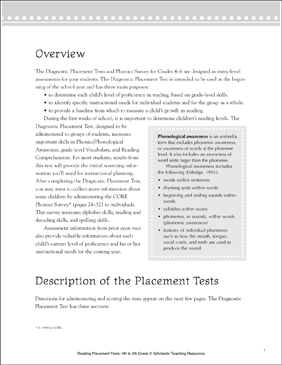 Reading Placement Test: Grade 6 - Printable Worksheet