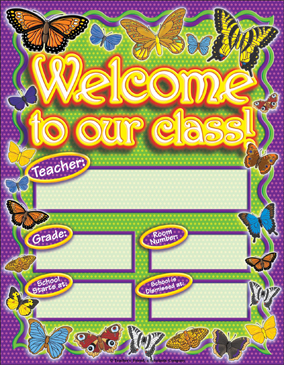 Butterfly Classroom Welcome Poster - Printable Worksheet
