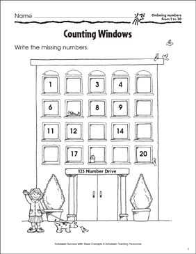 Counting Windows (Ordering Numbers from 1 to 20) - Printable Worksheet