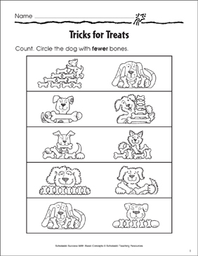Tricks for Treats (More Than/Less Than) - Printable Worksheet