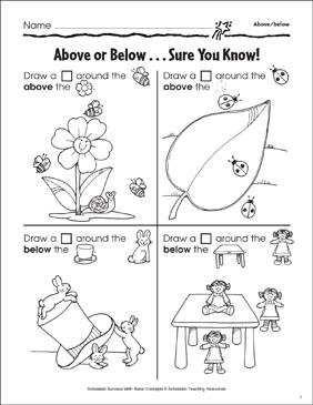 Above or Below...Sure You Know (Above/Below)   Printable ...