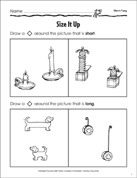 Size It Up (Short/Long) - Printable Worksheet