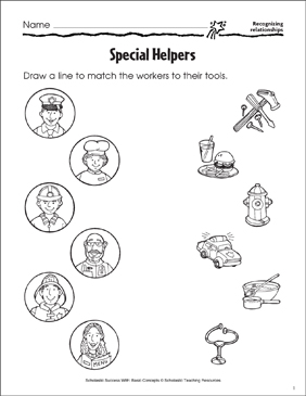 Special Helpers (Recognizing Relationships) - Printable Worksheet