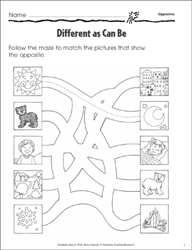 Different as Can Be (Opposites) - Printable Worksheet