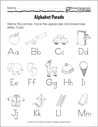 Alphabet Parade (Recognizing Uppercase/Lowercase Letters) - Printable Worksheet