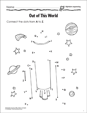 Out of This World (Alphabet Sequencing) - Printable Worksheet