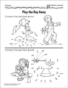 Play the Day Away (Alphabet Sequencing) - Printable Worksheet