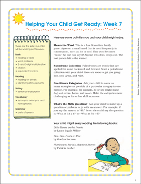 Week 7: Summer Express Between Grades 3 and 4 - Printable Worksheet