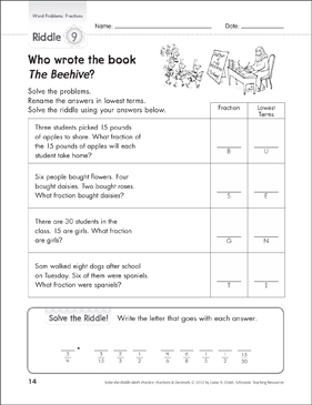 solve the riddle fraction word problems gr 3 printable number puzzles and skills sheets. Black Bedroom Furniture Sets. Home Design Ideas