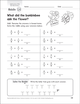 Solve-the-Riddle: Add Fractions With Like Denominators - Printable Worksheet