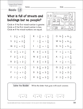 Solve-the-Riddle: Compare Mixed Numbers Using Symbols >, <, = - Printable Worksheet