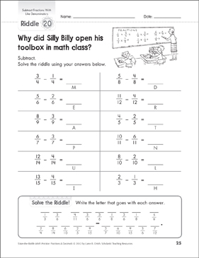 Solve-the-Riddle: Subtract Fractions With Like Denominators - Printable Worksheet