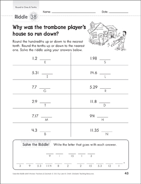 Solve-the-Riddle: Round to Ones & Tenths - Printable Worksheet