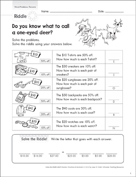Solve-the-Riddle: Word Problems (Percents) - Printable Worksheet