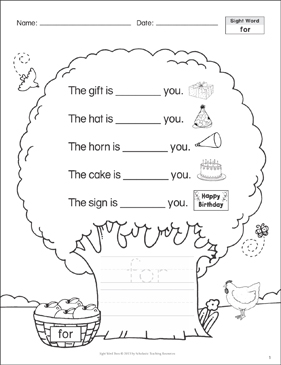 for: Sight Word Tree - Printable Worksheet