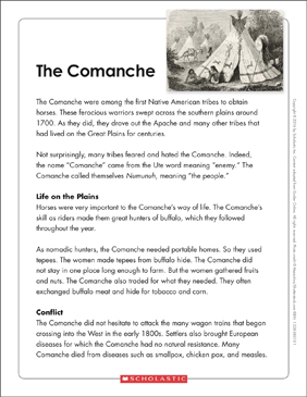 The Comanche: Text & Organizer - Printable Worksheet