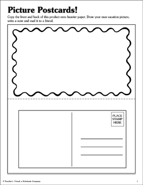 Picture Postcards! - Printable Worksheet