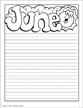 June Note Paper! - Printable Worksheet