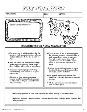 July Newsletter - Printable Worksheet