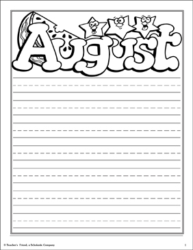 August Note Paper - Printable Worksheet