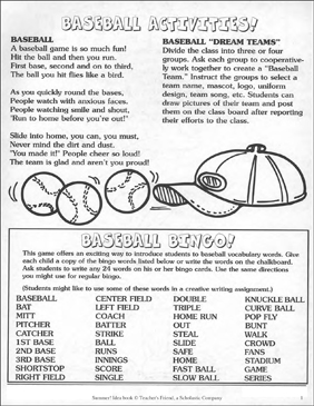Baseball Activities! - Printable Worksheet