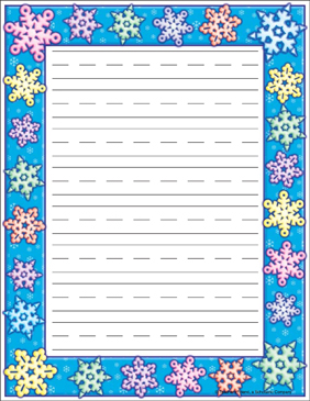 Snowflake Border - Lined - Printable Worksheet