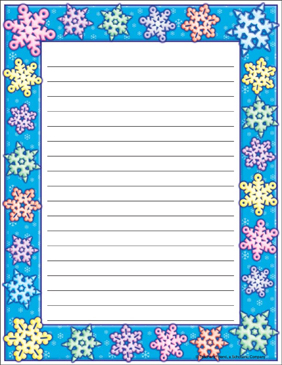 Snowflake Border Stationery - Printable Worksheet