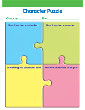 Character Puzzle Graphic Organizer - Printable Worksheet