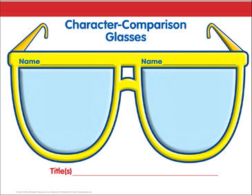 Character Comparison Glasses Graphic Organizer - Printable Worksheet
