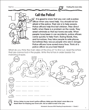 Call the Police! (Main Idea) - Printable Worksheet