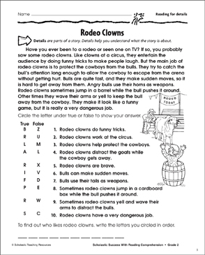 Rodeo Clowns (Reading for Details) - Printable Worksheet