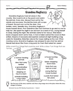 Grandma Hugfuzzy (Real or Fantasy) - Printable Worksheet