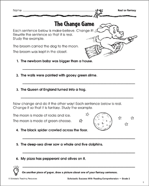 The Change Game (Real or Fantasy) - Printable Worksheet