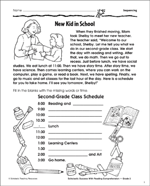 New Kid In School (Sequencing) - Printable Worksheet