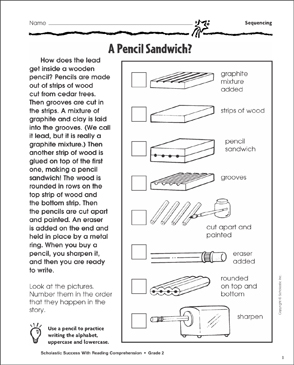A Pencil Sandwich (Sequencing) - Printable Worksheet