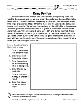 Rainy Day Fun (Following Directions) - Printable Worksheet