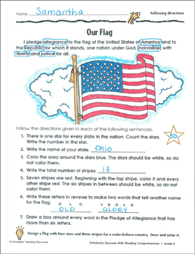 Our Flag (Following Directions) - Printable Worksheet
